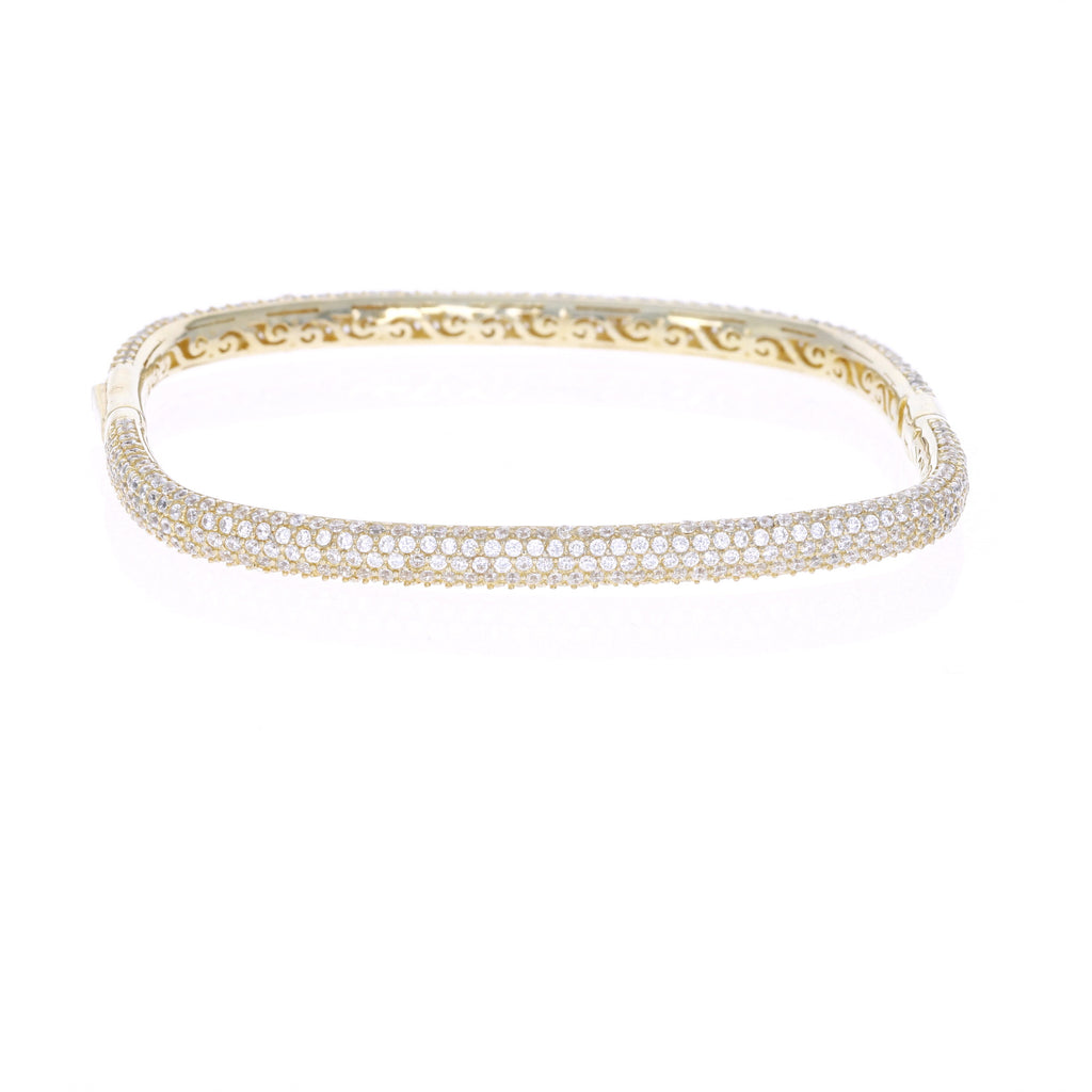 Gold Pave Square Bangle Bracelet