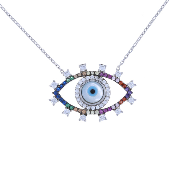 Rainbow Evil Eye Necklace