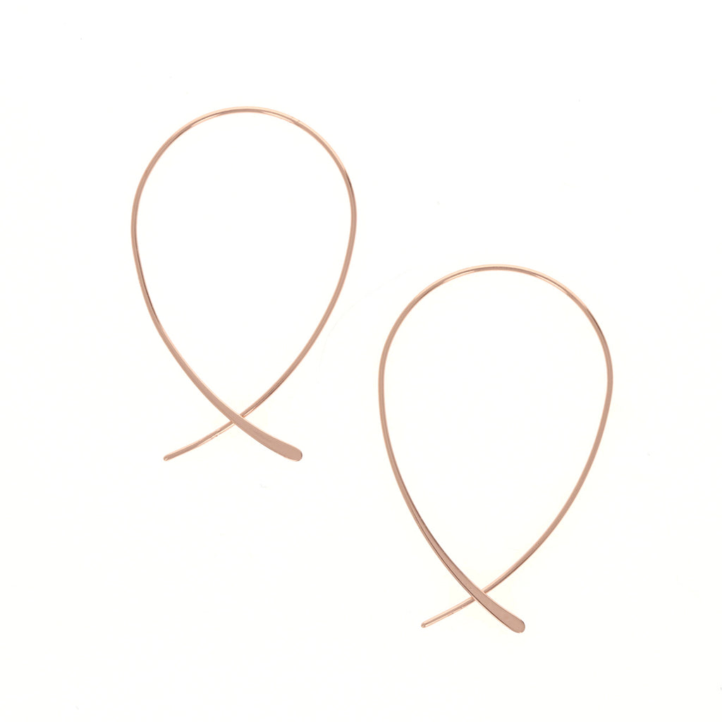 Rose Criss Cross Hoop Earrings