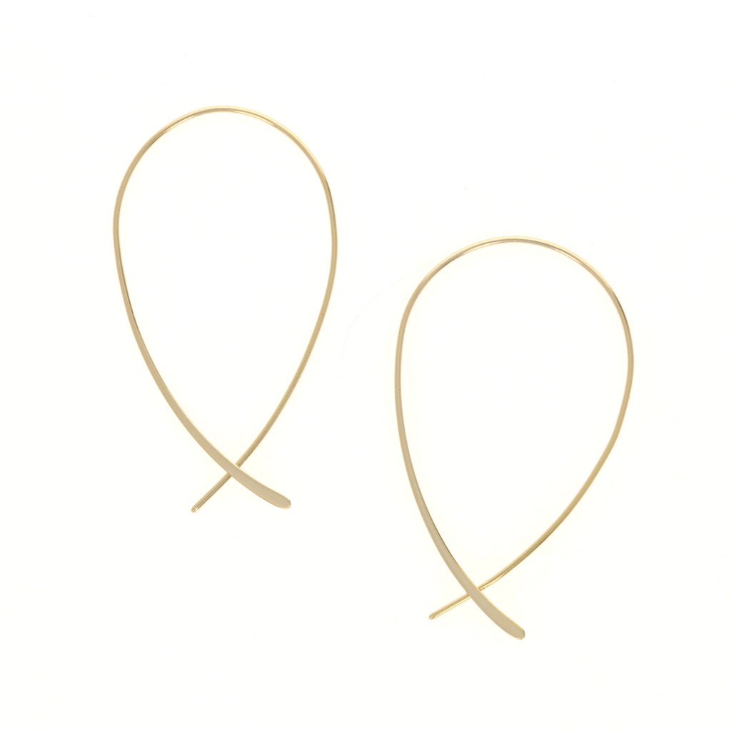 Gold Criss Cross Hoop Earrings