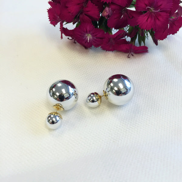 Metallic Silver Double Stud Earrings