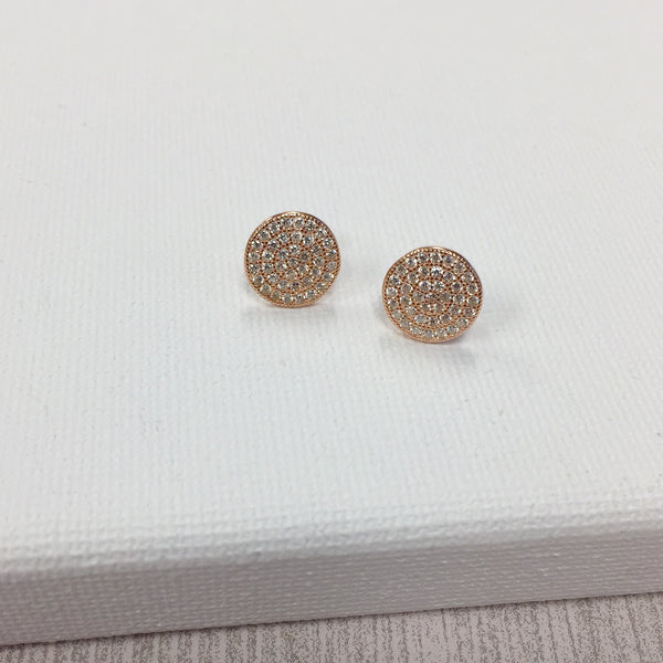 Pave Rose Gold Disc Earrings