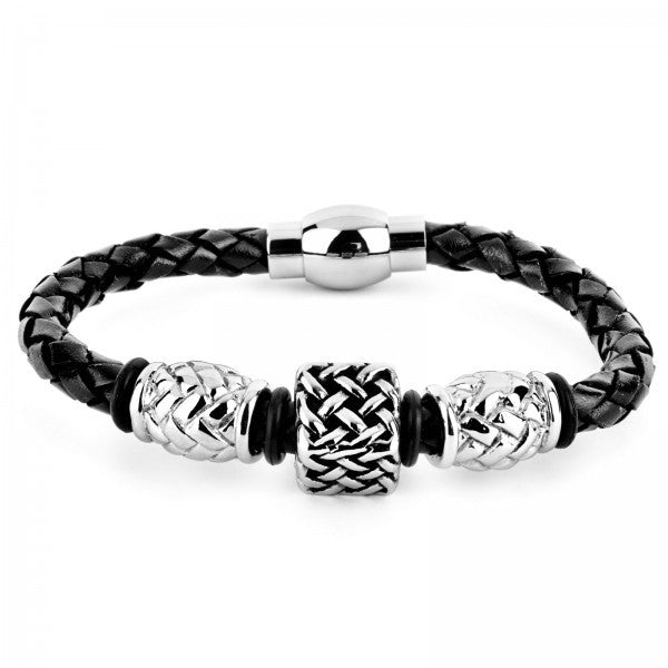 Braided Leather Lattice Square Bead Bracelet