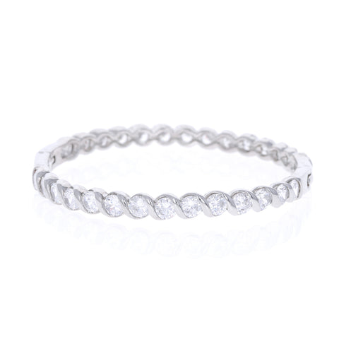 Wrapped Rope Set Cz Bangle