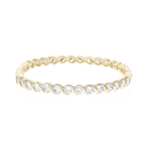 Gold Rope Wrapped Cz Bracelet