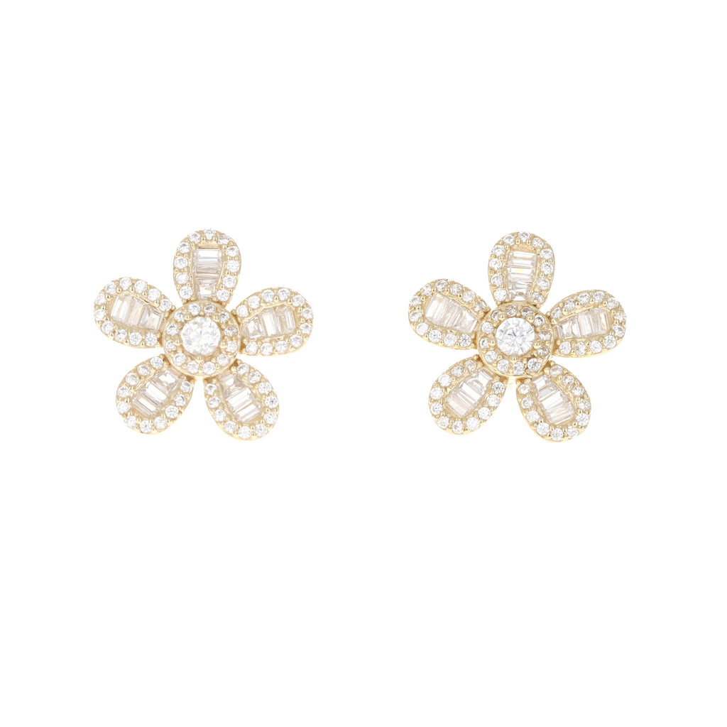Golden Blooming Baguette Flower Stud Earrings