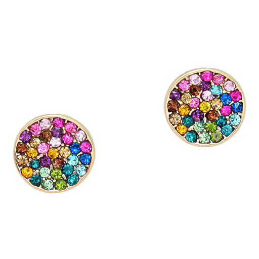 Multicolor Pave Disk Earrings