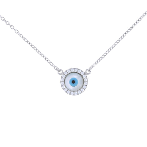 Tiny Pearl Evil Eye Necklace
