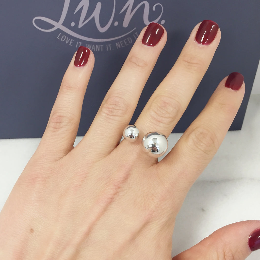 Silver Double Ball Ring