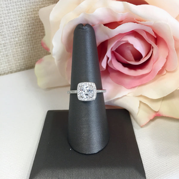 Claire Cushion Cut Halo Ring