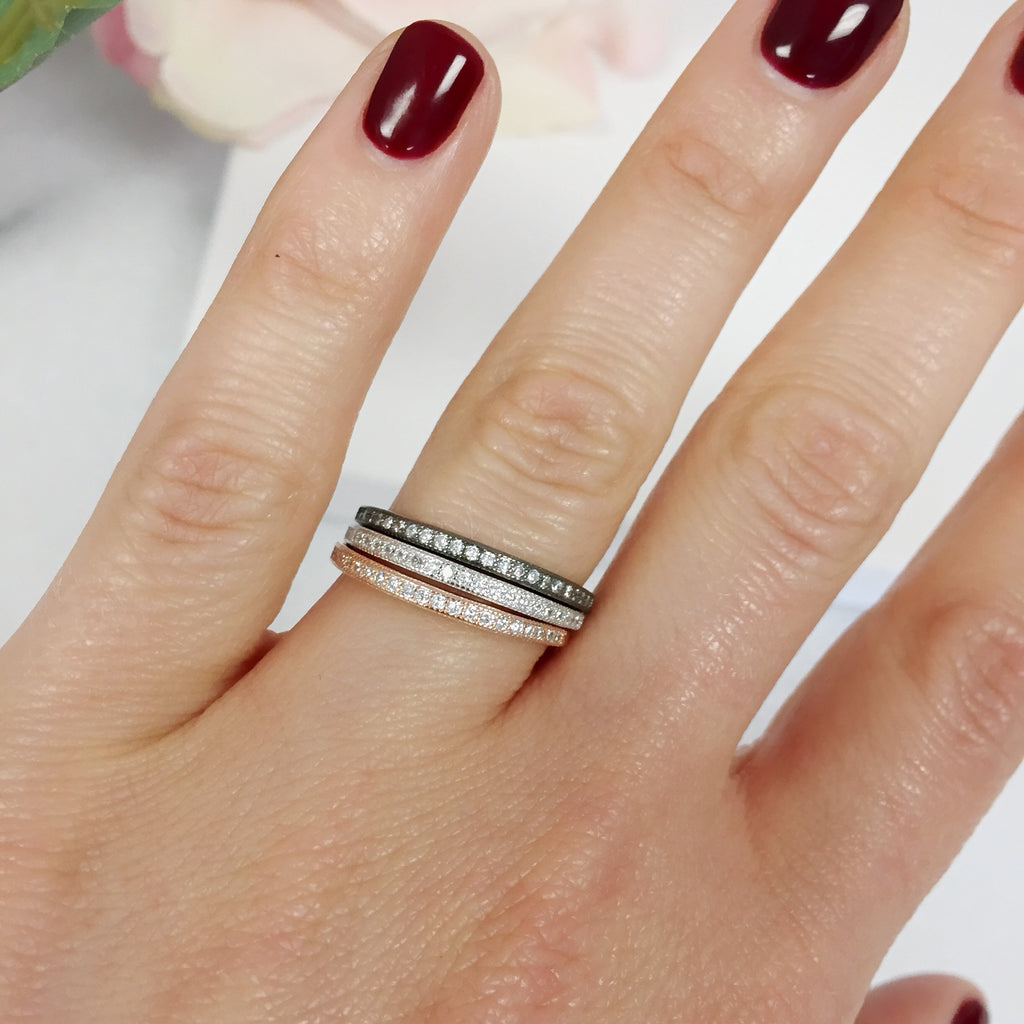 Silver, Rose & Gunmetal Stacking Ring Set