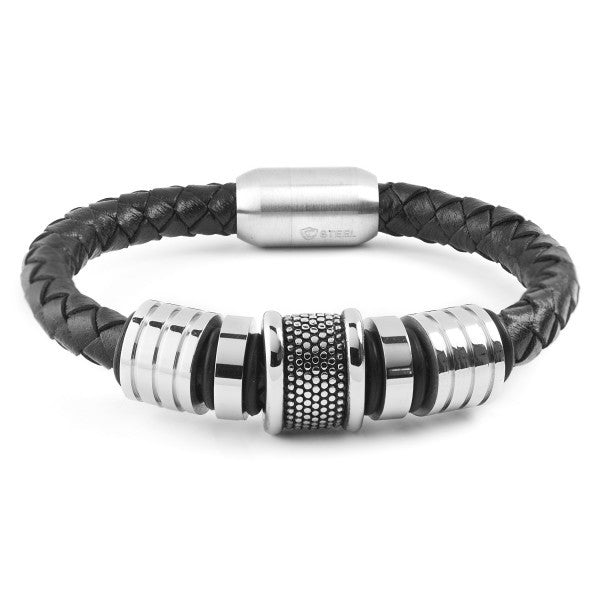 Grooved Bead Braided Leather Bracelet
