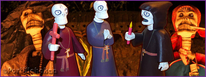 Cloaked Clergy Candle Vigil Day of the Dead Figures