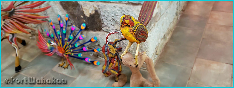 Peacocks Hawks Natural Wood Tribus Mixes Oaxaca City Mexico