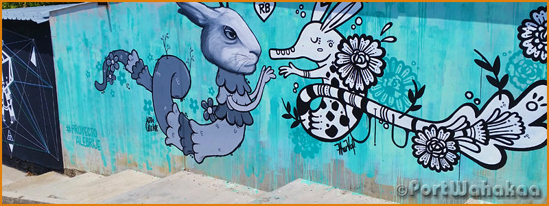 Rabbit Armadillo Wall Painting Mural