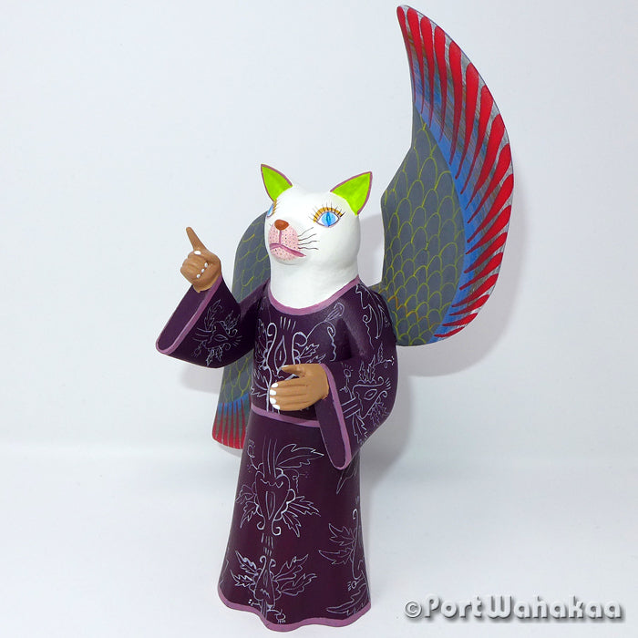 Heavenly Cat Oaxacan Carving Artist - Avelino Perez Port Wahakaa angel, Carving Medium Large, Cat, Festivos, Gato, La Union