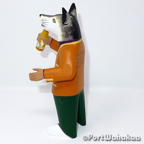 Wolf Man Green Jeans Oaxacan Carving Artist - Avelino Perez Port Wahakaa Carving Medium, Coyote, La Union, Lobo, Nahual, Wolf, Zorro