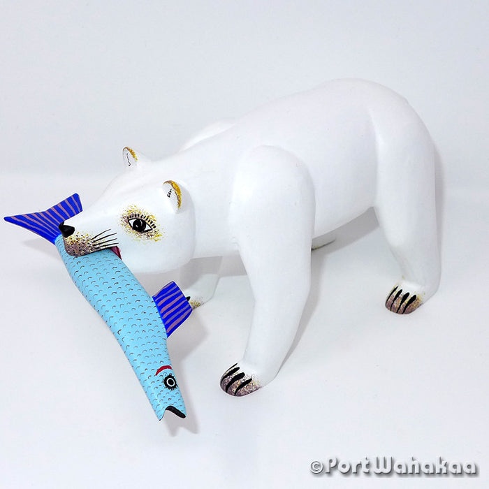 Fishing Polar Bear Artist - Avelino Perez Port Wahakaa Oaxacan Carving Mexico Folk Art