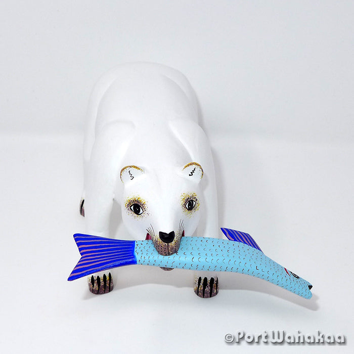 Fishing Polar Bear - Oaxaca Wood Carving Alebrijes Animal Mexican Copal