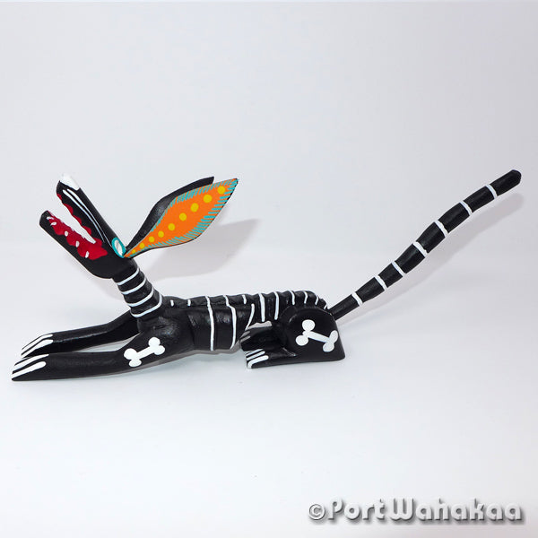 Reverse Skeleton Dog - Oaxaca Wood Carving Alebrijes Animal Mexican Copal