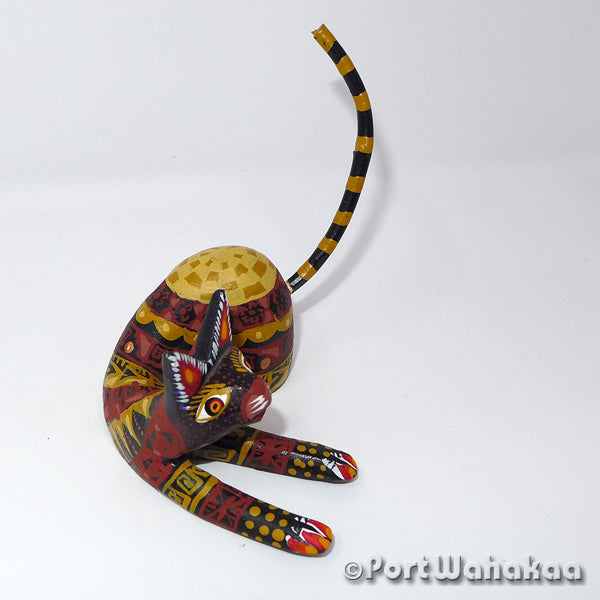 Village Cat Oaxacan Carving Artist - Francisco Sosa Port Wahakaa Cat, Gato