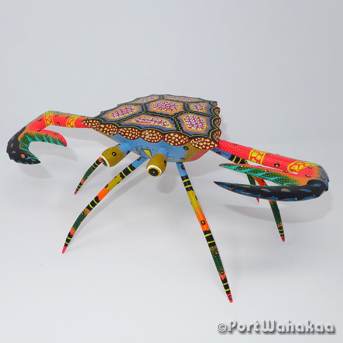 Fiery Tropics Crab Oaxacan Carving Artist - David Blas Port Wahakaa Carving Large, Crab, Jaiba, San Pedro Cajonos