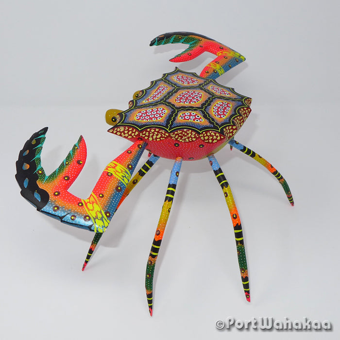 Fiery Tropics Crab Artist - David Blas Port Wahakaa Oaxacan Carving Mexico Folk Art