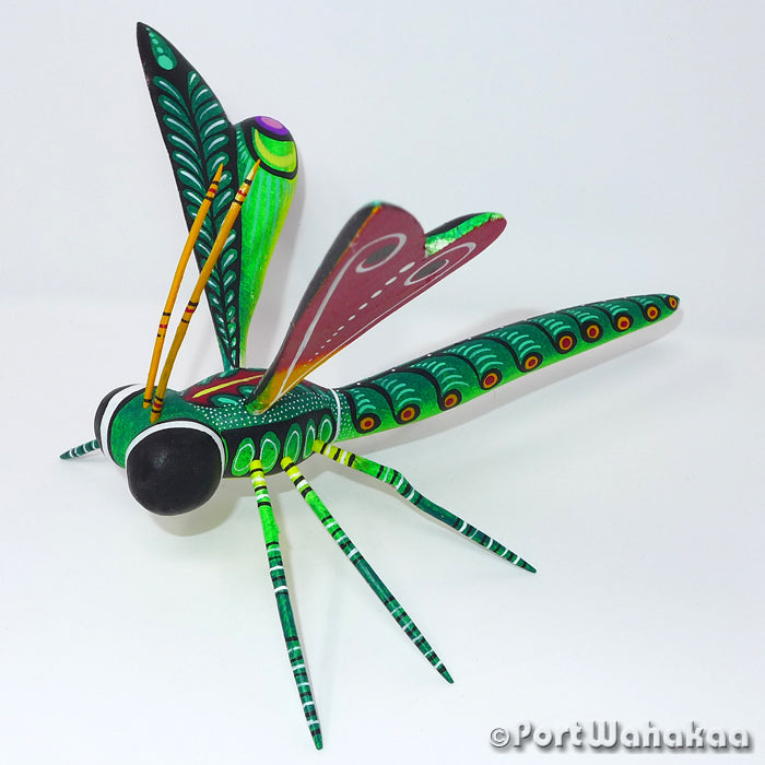 Nephrite Dragonfly - Oaxaca Wood Carving Alebrijes Animal Mexican Copal
