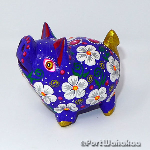 Spherical Azure Pig Oaxacan Carving Port Wahakaa Port Wahakaa Carving Small, Cerdo, Javelina, Oaxaca City, Pig, Warthog