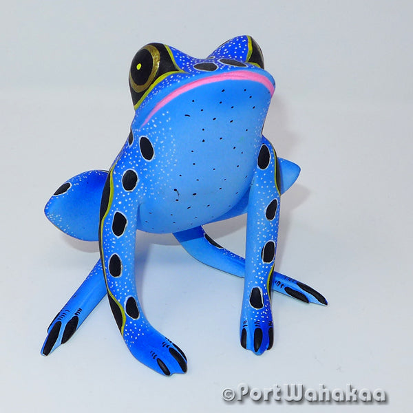 Blue Mist Rainforest Frog - Oaxaca Wood Carving Alebrijes Animal Mexican Copal