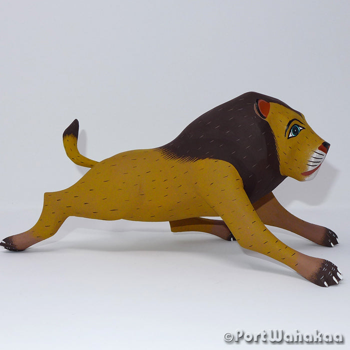 Leaping Lion - Oaxaca Wood Carving Alebrijes Animal Mexican Copal
