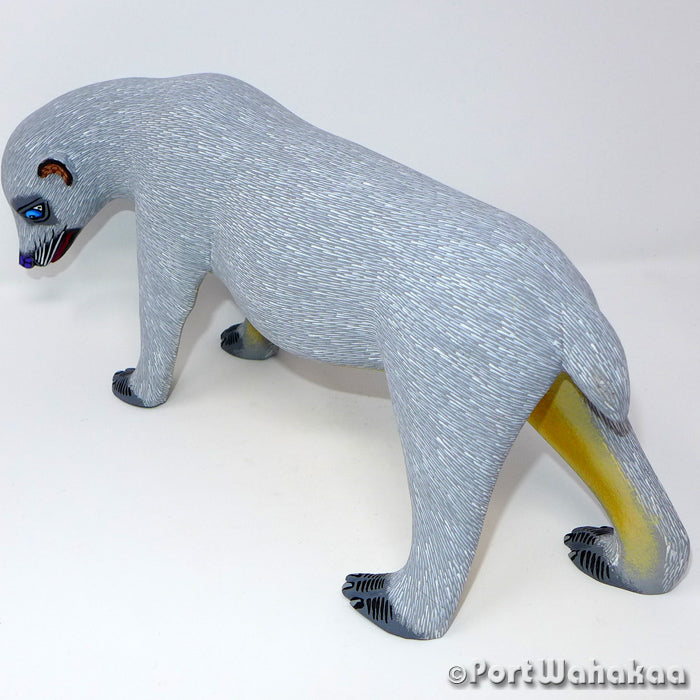 Ice Flow Polar Bear Oaxacan Carving Artist - Eleazar Morales Port Wahakaa Arrazola, Bear, Carving Large, Oso, Polar Bear