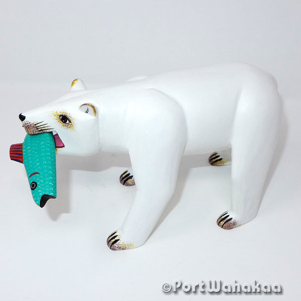 Pearly Polar Bear - Oaxaca Wood Carving Alebrijes Animal Mexican Copal
