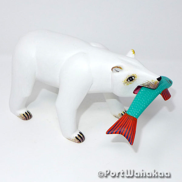 Pearly Polar Bear Oaxacan Carving Artist - Avelino Perez Port Wahakaa Bear, Carving Medium, La Union, Oso, Polar Bear
