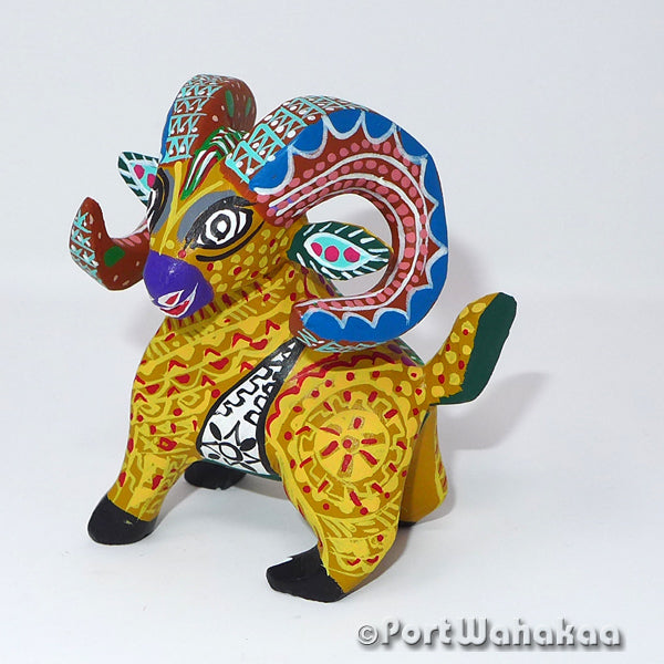 Eldorado Ram Oaxacan Carving Artist - Margarito Rodriguez Port Wahakaa Arrazola, Carving Small, Ram, Sheep
