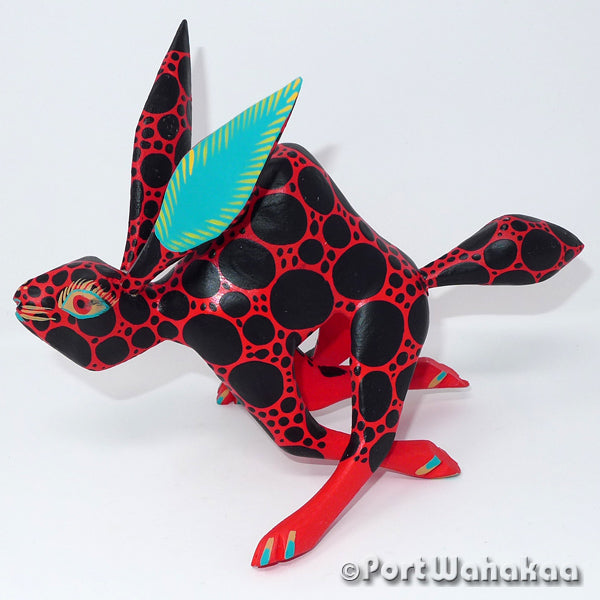 Speedy Red Rabbit Oaxacan Carving Artist - Antonio Carrillo Port Wahakaa Arrazola, Carving Medium, Conejo, Jack Rabbit, Rabbit