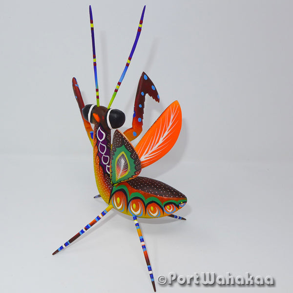 Torchlight Praying Mantis - Oaxaca Wood Carving Alebrijes Animal Mexican Copal