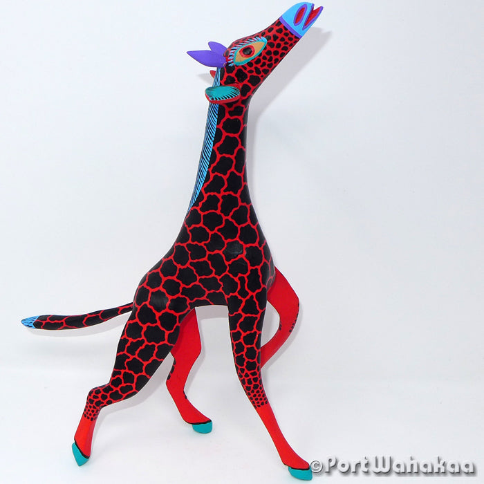 Vermilion Giraffe - Oaxaca Wood Carving Alebrijes Animal Mexican Copal