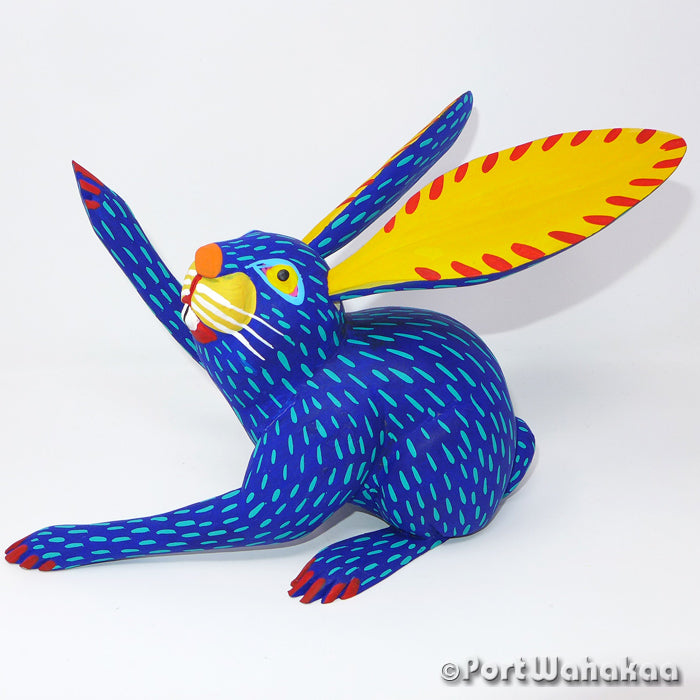 Blue Briar Rabbit Oaxacan Carving Artist - Moises Jimenez Port Wahakaa Arrazola, Carving Large, Conejo, Rabbit