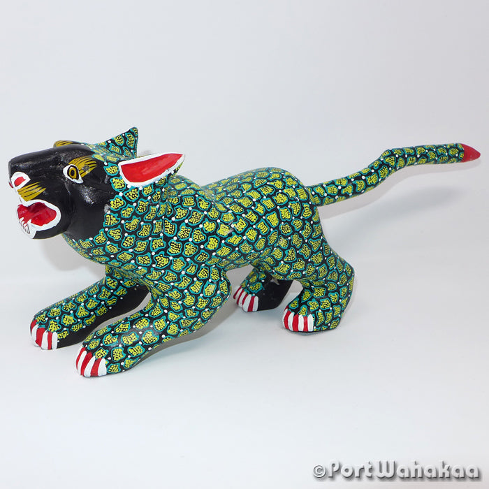 Emerald Forest Panther Oaxacan Carving Artist - Margarito Melchor Port Wahakaa Carving Large, Cat, Jaguar, Panther, San Martin Tilcajete