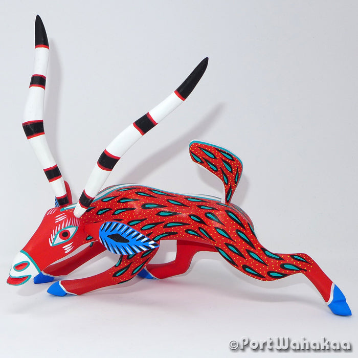 Scarlet Gazelle Oaxacan Carving Artist - Antonio Carrillo Port Wahakaa Antelope, Arrazola, Cabra, Carving Medium, Gazelle, Goat