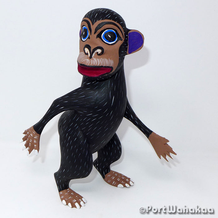 Curious Chango Chimp Oaxacan Carving Artist - Angel Ramirez Port Wahakaa Ape, Arrazola, Carving Large, Chimp, Monkey
