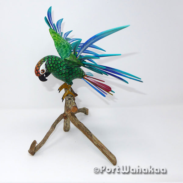 Emerald Forest Parrot Oaxacan Carving Artist - Tribus Mixes Port Wahakaa Aves, Avian, avias, Bird, Carving Large, Oaxaca City, Parrot