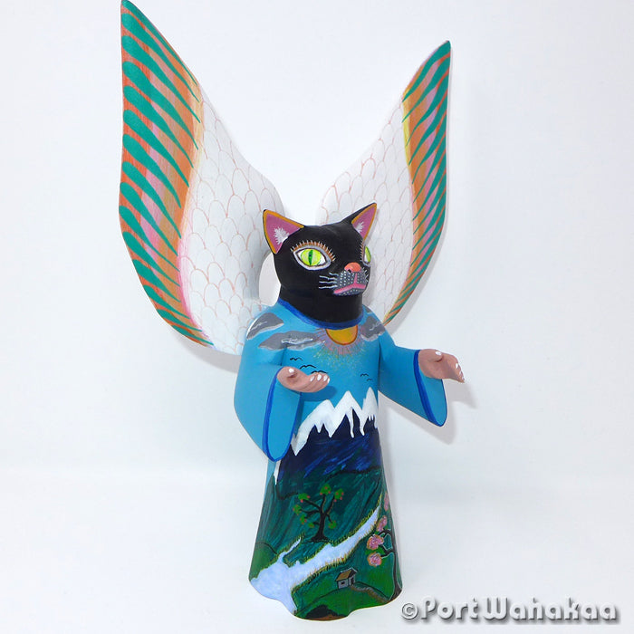 Afterlife Cat Oaxacan Carving Artist - Avelino Perez Port Wahakaa Alebrije, Carving Medium Large, Cat, Gato, La Union, Nahual, Panthera