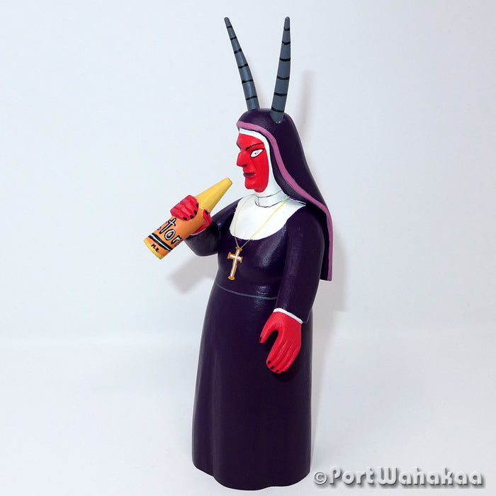 Drinking Diabla Nun Pregnant Oaxacan Carving Artist - Avelino Perez Port Wahakaa Carving Medium, Day of the Dead, Devil, Diablo, Festivo, La Union