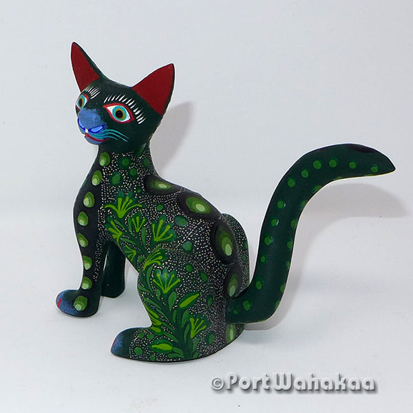 Lush Green Cat Artist - Jose Olivera Port Wahakaa Oaxacan Carving Mexico Folk Art