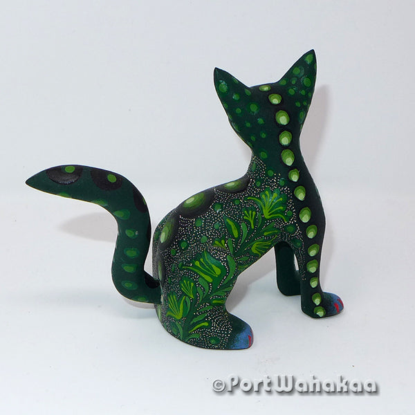 Lush Leafy Cat Oaxacan Carving Artist - Jose Olivera Port Wahakaa Carving Small, Cat, Gato