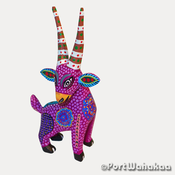 Violet Goat Oaxacan Carving Artist - Margarito Rodriguez Port Wahakaa Antelope, Cabra, Carving Small, Gazelle, Goat