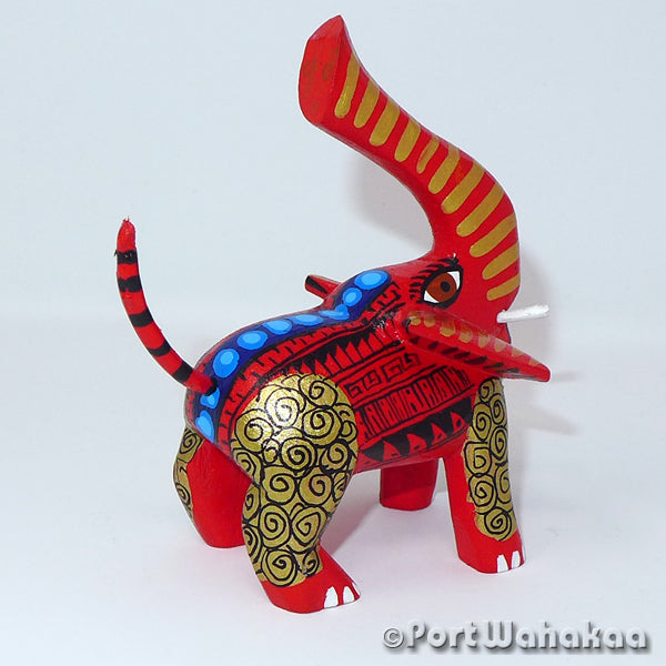 Golden Red Elephant Oaxacan Carving Artist - Candido Perez Port Wahakaa Carving Small, Elephant, San Martin Tilcajete