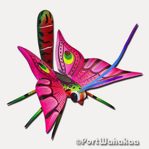 Magenta Pink Mariposa Oaxacan Carving Artist - Ezequiel Blas Port Wahakaa Blas, butterfly, Carving Small, Insect, mariposa, San Pedro Cajonos